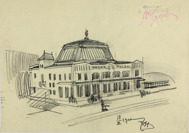 """Franciszek Mączyński Szkic """"Bazaru Polskiego"""", 1910. ZBK"""